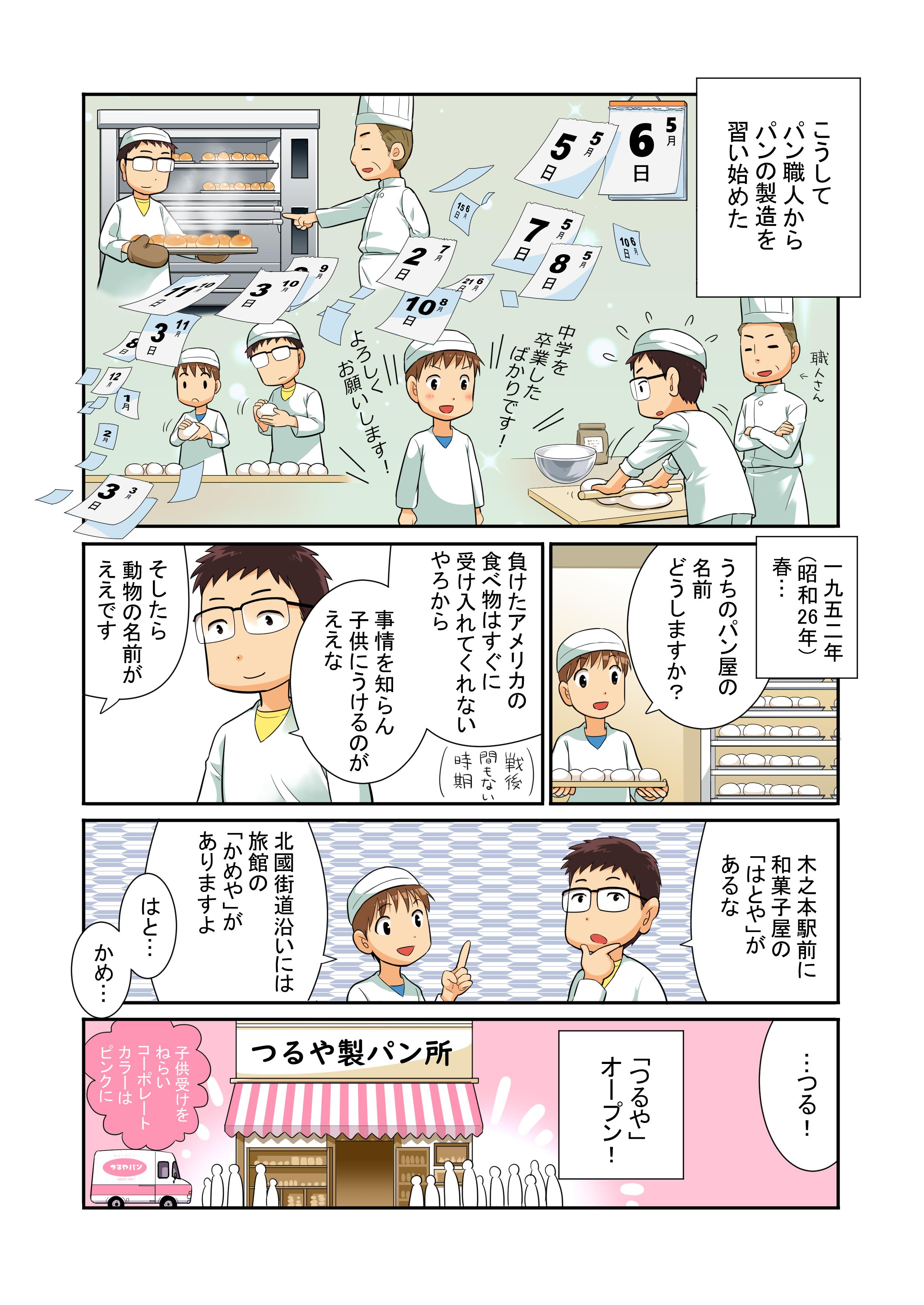 漫画で紹介。つるやパンの歴史4